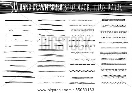 set of marker strokes  - 50 art and pattern brushes