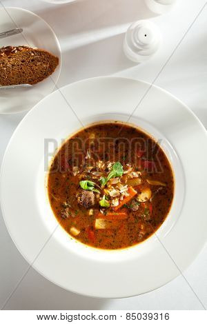 Hot Beef Goulash Soup. Garnished with Bread