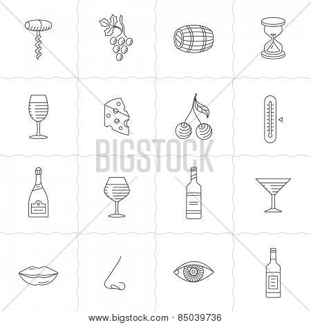 Wine icons set - procurement, storage, cellar rotation and tasting. Vector icons for wine labels. Simple outlined icons. Linear style