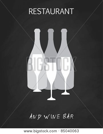 Wine list design templates with different wine bottles and glasses.