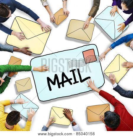 Aerial View of Business People and E-Mail Concept
