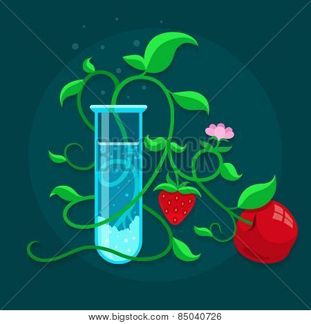 GMO genetically modified foods growing in test-tube. Eps10 vector illustration