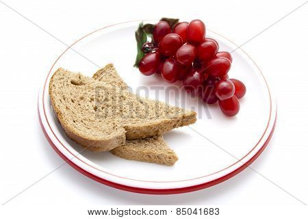 Fresh Baked Toast Bread with Red Grapes