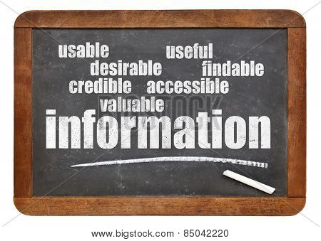 user experience concept - attributes of information important for usability and user experience on a blackboard
