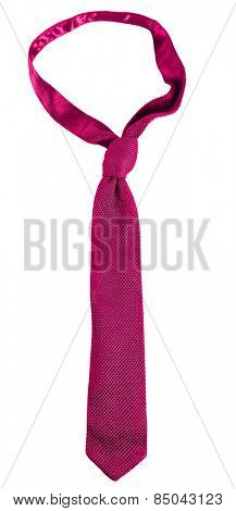 Pink male tie isolated on white
