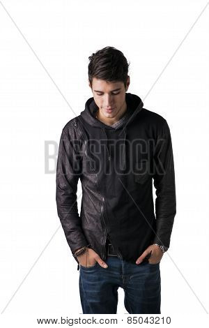 Handsome Shy Young Man In Black Hoodie Sweater Standing
