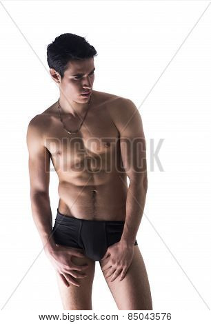 Handsome, Fit Young Man In Underwear Isolated On White