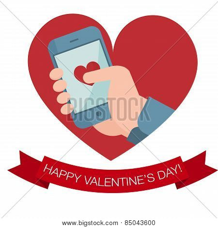 Hand Holding Mobile Phone With Heart Icon