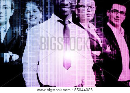 Successful business people and a city. Double exposure creative concept.