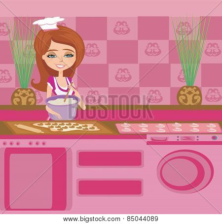 Beautiful Housewife Preparing The Dough Into Muffins