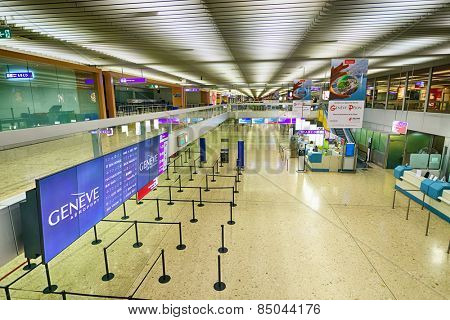 GENEVA - SEP 15: Airport interior on September 15, 2014 in Geneva, Switzerland. Geneva International Airport is the international airport of Geneva. It is located 4 km northwest of the city centre