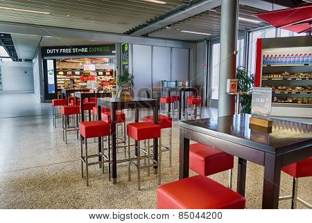 GENEVA - SEP 16: Airport interior on September 16, 2014 in Geneva, Switzerland. Geneva International Airport is the international airport of Geneva. It is located 4 km northwest of the city centre