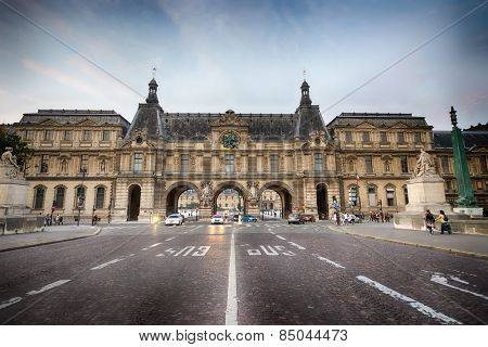 PARIS - SEPTEMBER 06, 2014: area near the Louvre. The Louvre or the Louvre Museum is one of the world's largest museums and a historic monument