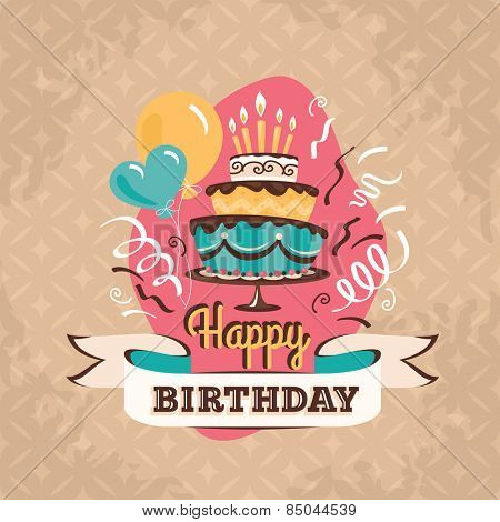 Vintage birthday greeting card with big cake and balloons on a grunge geometric retro background