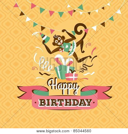 Vintage birthday greeting card with a monkey on a geometric retro background