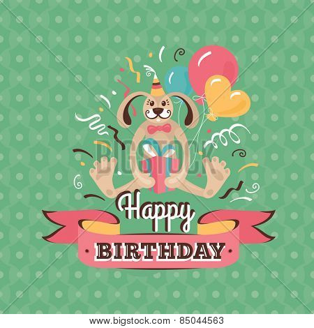 Vintage birthday greeting card with a hare holding a present on a geometric background