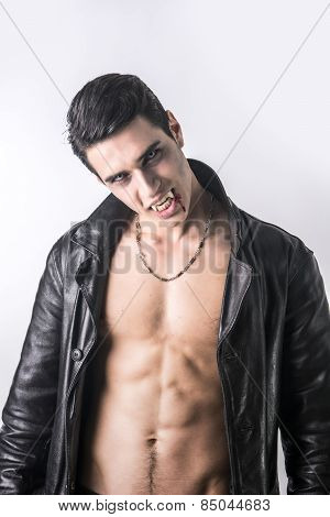 Vampire Man In Black Open Jacket On White Background