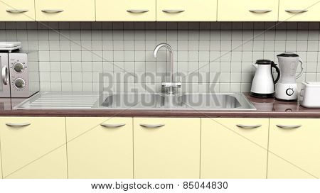 3D kitchen cabinet closeup with sink, cupboard and appliances