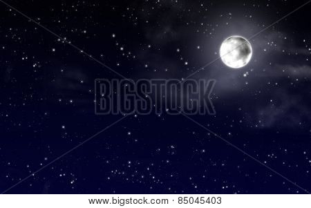 Night sky with stars and full moon