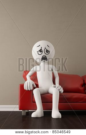 Discontent 3D guy whining on a red couch (3D Rendering)