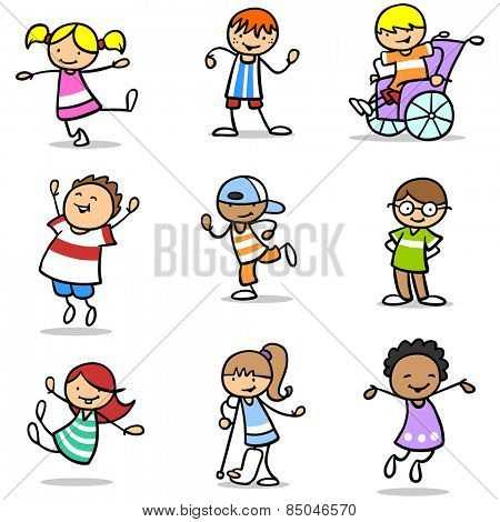 Many different happy children laughing and jumping