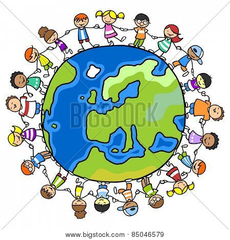 Many happy children standing on a world of peace and holding hands