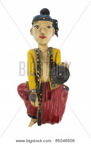 Asian vintage wood carving doll playing gong