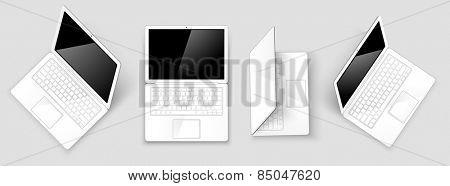Set laptops isolated on white background. Vector illustration