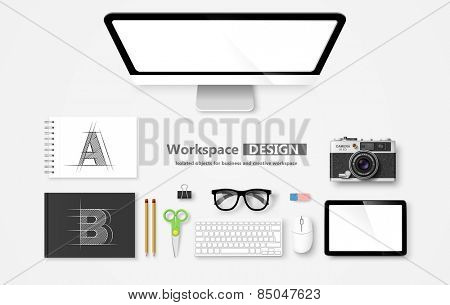 Creative Workspace, set of objects for business. Vector illustration