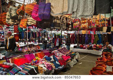 handcrafts in Saquisili street market, Ecuador