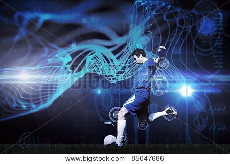 Football player kicking ball against abstract glowing black background