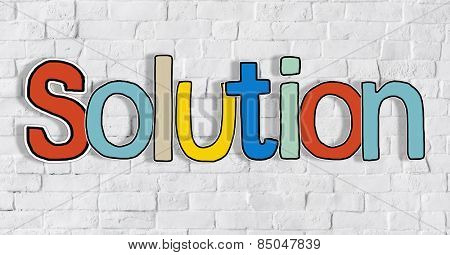 Solution Letter and Brick Wall in the Background Concept