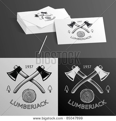 Lumberjack Logo Symbol Hatchet Axe Wood Rings Cut Tree Trunk Icon Isolated Vector Illustration