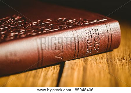 Close up of bible on wooden table