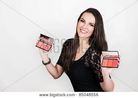 Girl   Holding  Blush Palette
