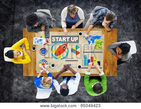 Diversity Casual People Start up Discussion Teamwork Working Concept