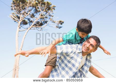 Father and son in the countryside on a sunny day