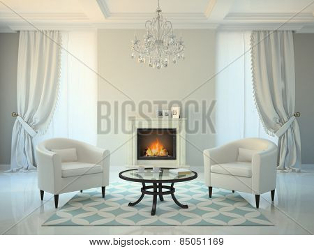 Classic style room with fireplace and armchairs 3D rendering