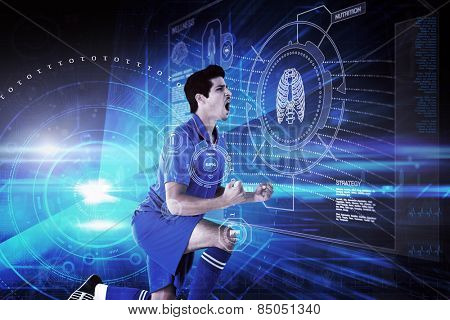 Cheering football player against blue technology background