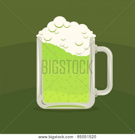 Vector illustration of green beer mug over green background, St. Patricks Day