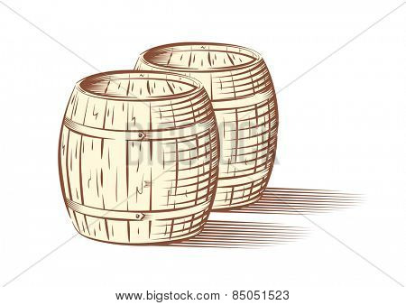 Vector illustration of beer or wine barrels, isolated on white background
