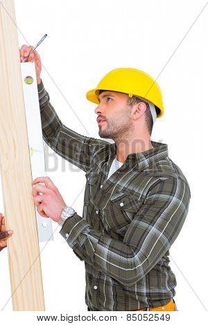 Carpenter using spirit level on wood plank on white background