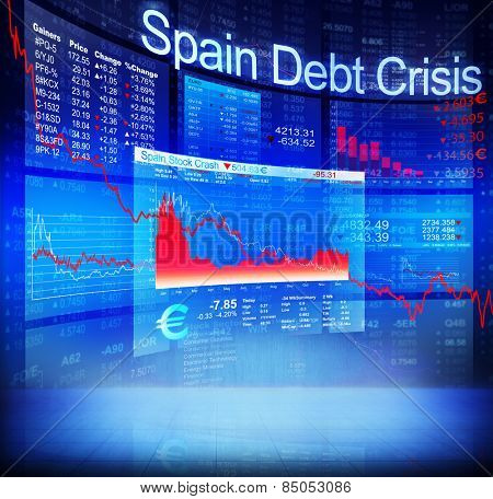 Spain Debt Crisis Economic Stock Market Banking Concept