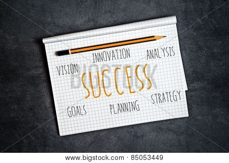 Business Success Components In Notebook