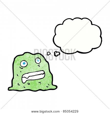 cartoon slime creature with thought bubble