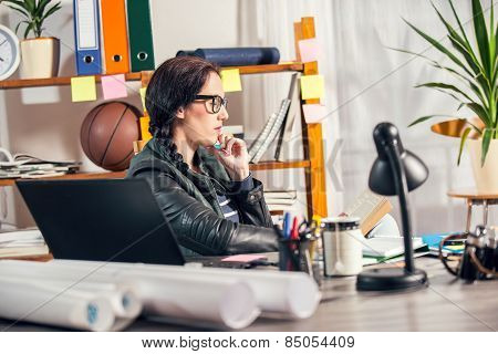 Hipster women in the office