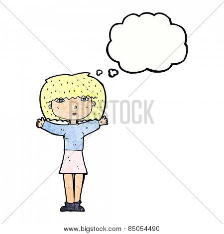 cartoon woman raising arms in air with thought bubble