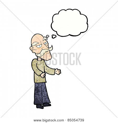 cartoon old man with mustache with thought bubble