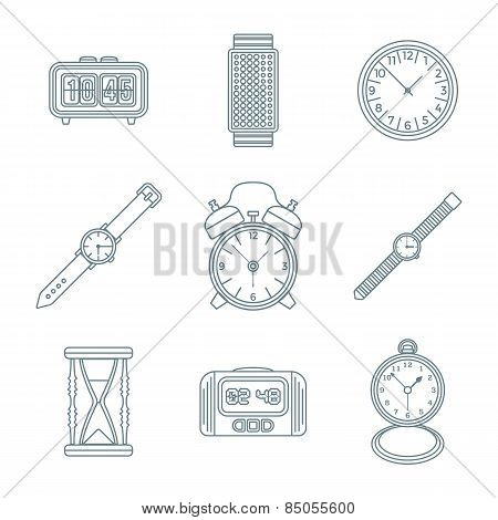 Dark Outline Various Watches Clocks Icons Set