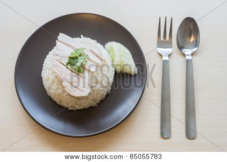 Khao mun kai , Thai food steamed chicken with rice.
